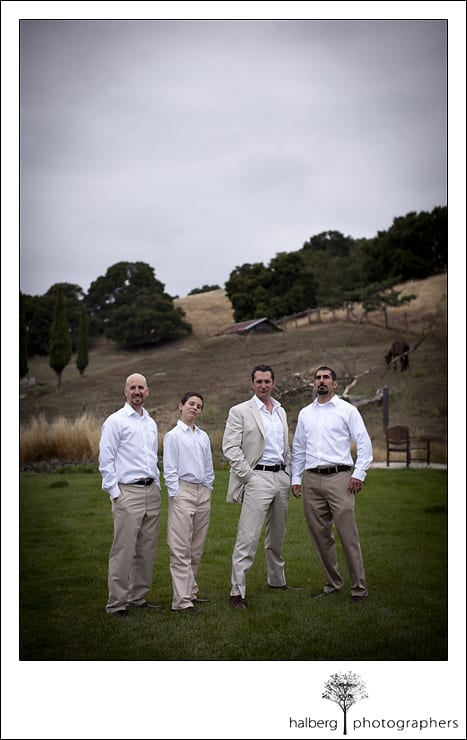 groom sanding with groomsmen before his Nicholson Ranch Wedding