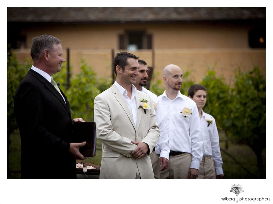 Nicholson Ranch Wedding groom at alter watching bride walk down isle