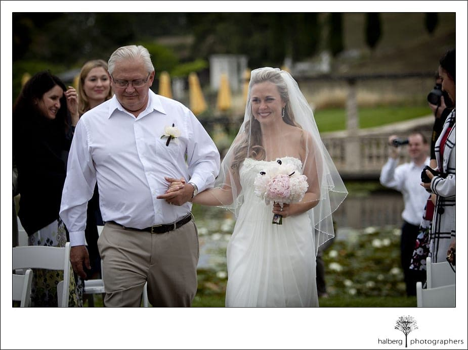 Nicholson Ranch Wedding bride with father walking down isle