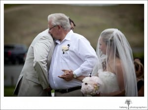 father giving bride away at her Nicholson Ranch Wedding