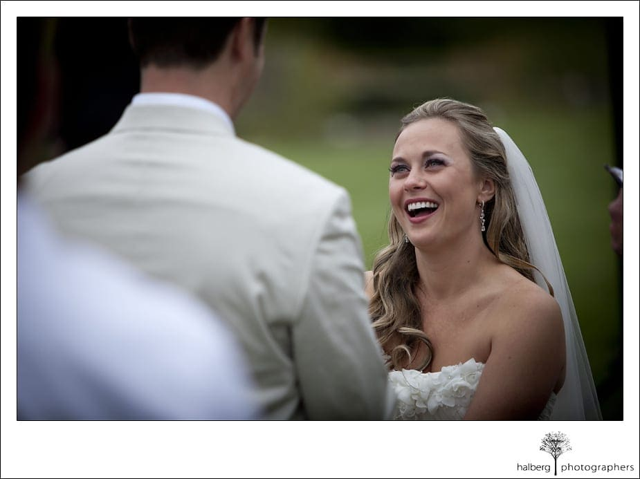 bride smiling at groom at their Nicholson Ranch Wedding