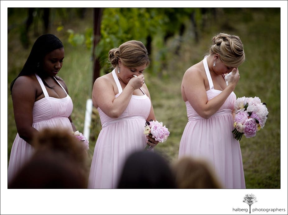 bridesmaids crying at their friends Nicholson Ranch Wedding
