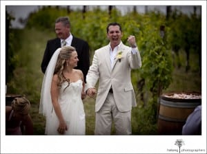 Nicholson Ranch Wedding couple married in front of vineyards
