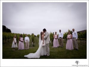 Nicholson Ranch Wedding bridal party photo in front of vineyards