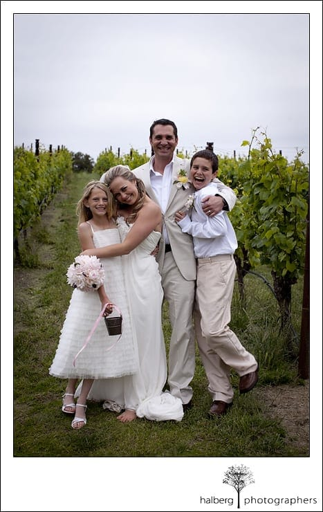 Nicholson Ranch Wedding family picture of bride and groom with kids