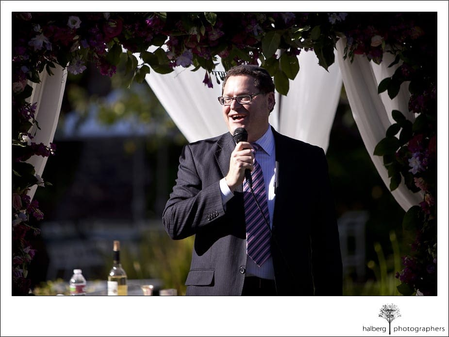 rabbi under chuppah at Riviera Country Club Wedding