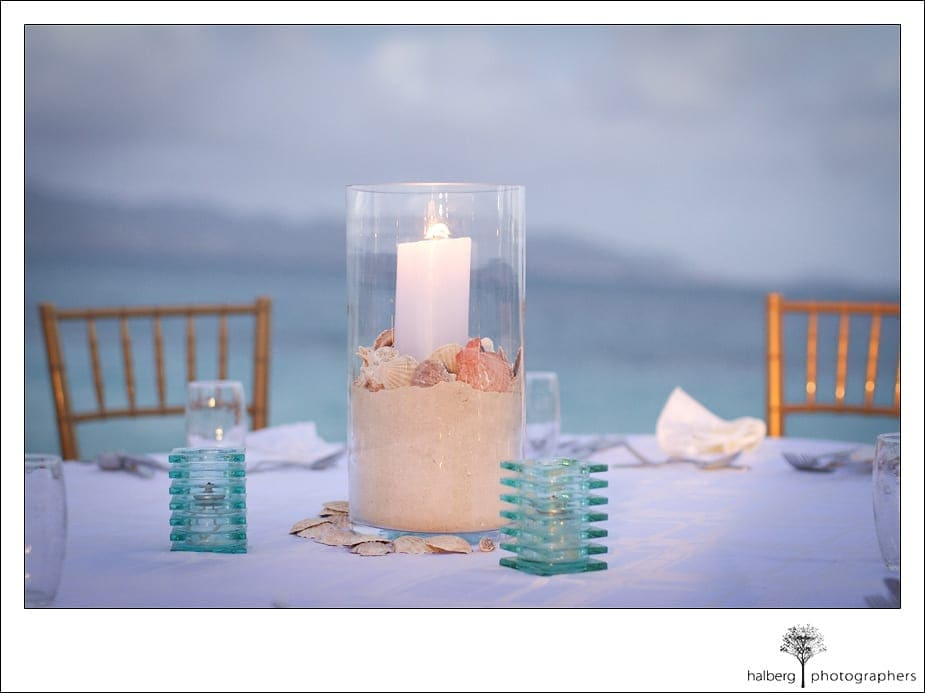 Beach decorations at wedding reception at CuisinArt Resort
