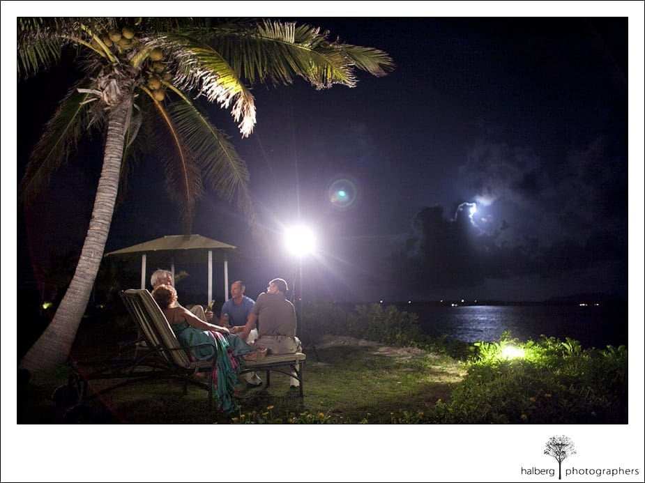 Guests along shore at night in Anguilla