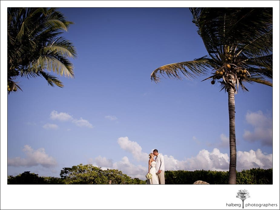 Couple kissing with clear sky in Anguilla