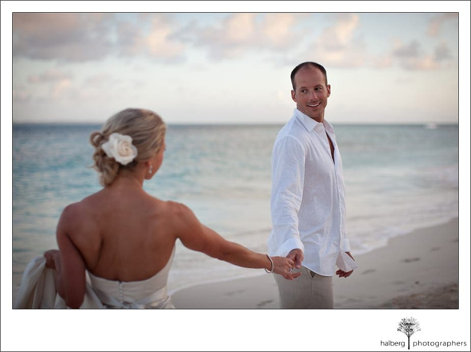 Locking eyes in Anguilla wedding portrait