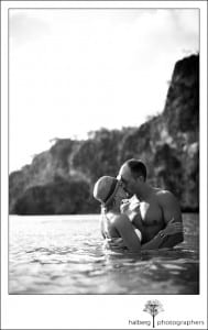 Newly weds embrace at Little Bay in Anguilla