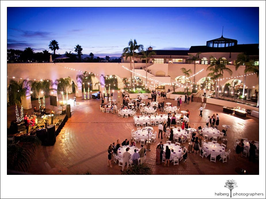 Overhead view of wedding reception at the Fess Parker's Doubletree