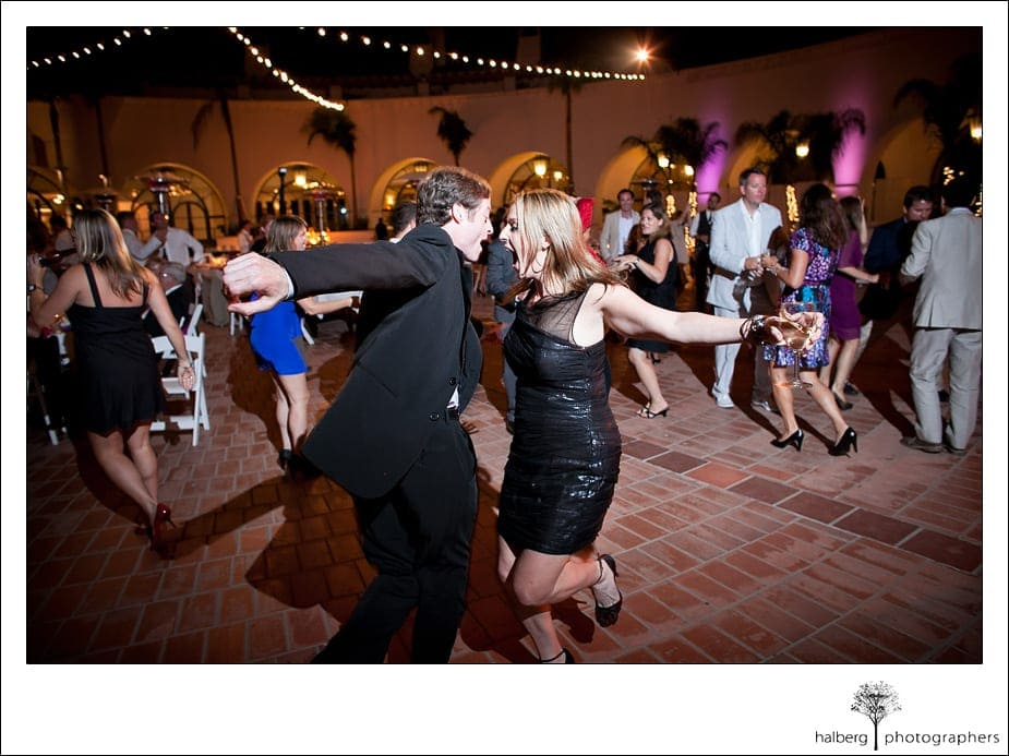 Guests dancing at wedding reception at the Fess Parker's Doubletree