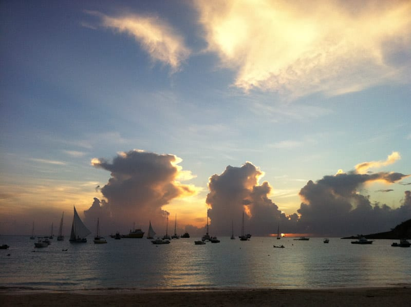 Anguilla sailboat sunset