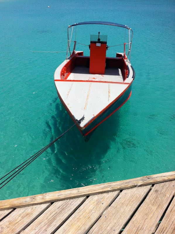 Boat at loading dock in Anguilla