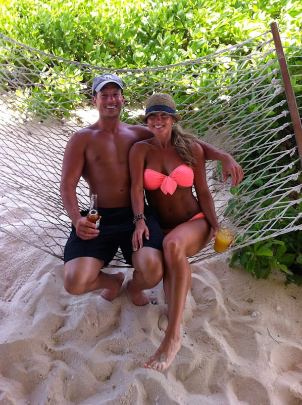 Spencer and Laura on hammock in Anguilla