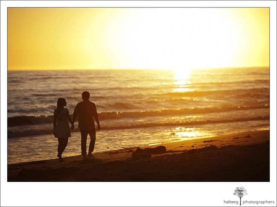 Shoreline sunset engagement session
