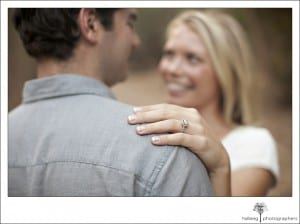 Engaged couple displaying the brides engagement ring during their Santa Barbara engagement session