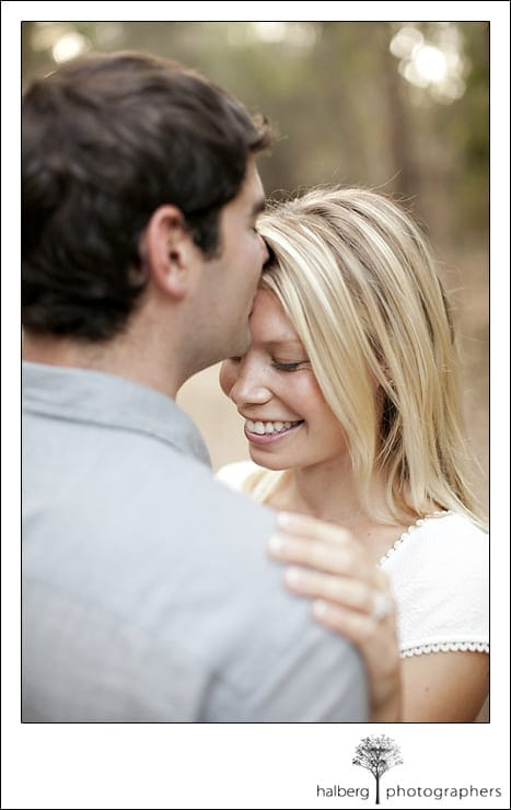Andrew kissing Kimberly's forehead in Santa Barbara engagement session