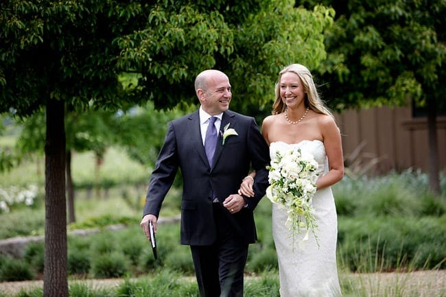 Shaina walking at her Napa wedding
