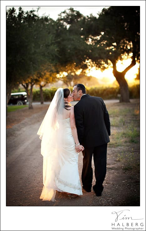 Firestone winery wedding kiss