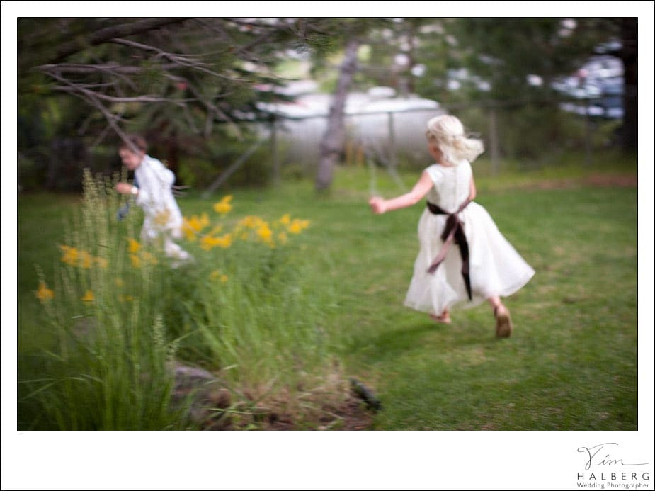 Kids running at Squaw Valley wedding