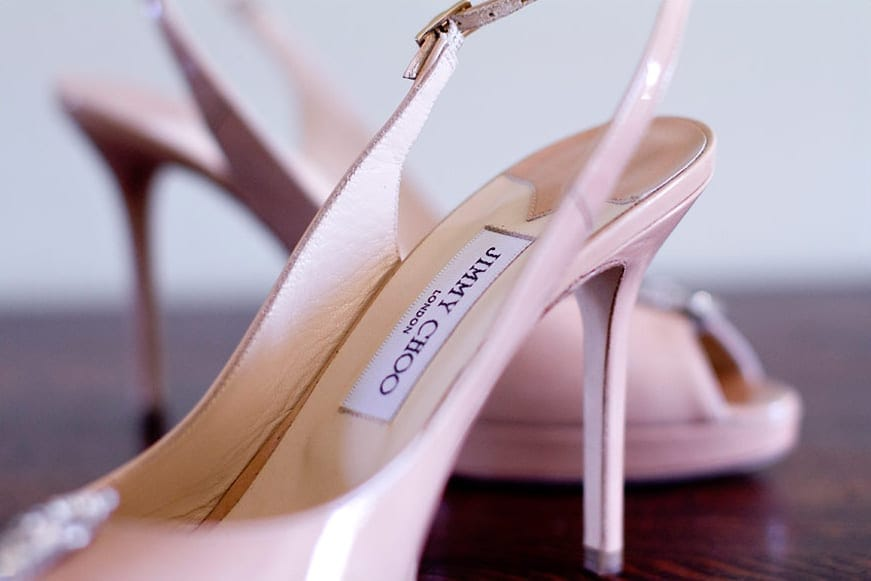 Jimmy Choos shoes at a wedding