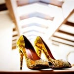 sparkling gold wedding shoes