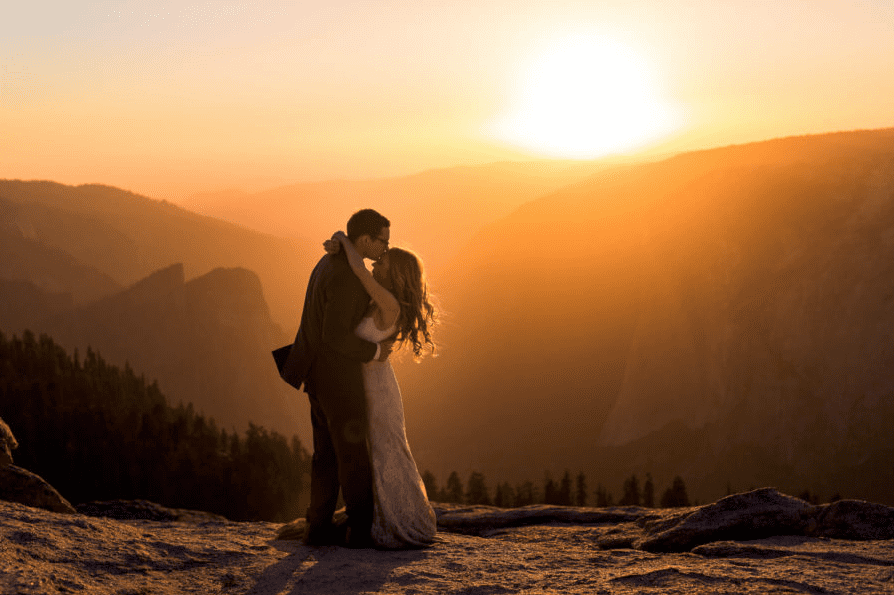 wedding sunset yosemite