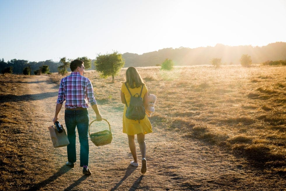 sunset engagement session in napa