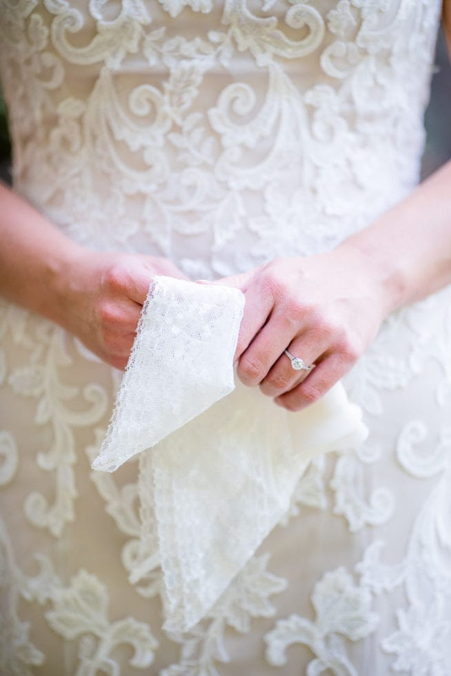 close up of bride holding on the handkerchief