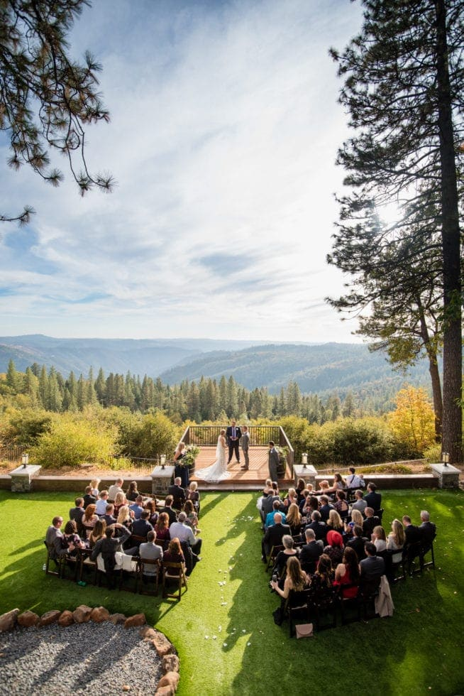wedding ceremony at mountain shadows retreat in foresthill, ca