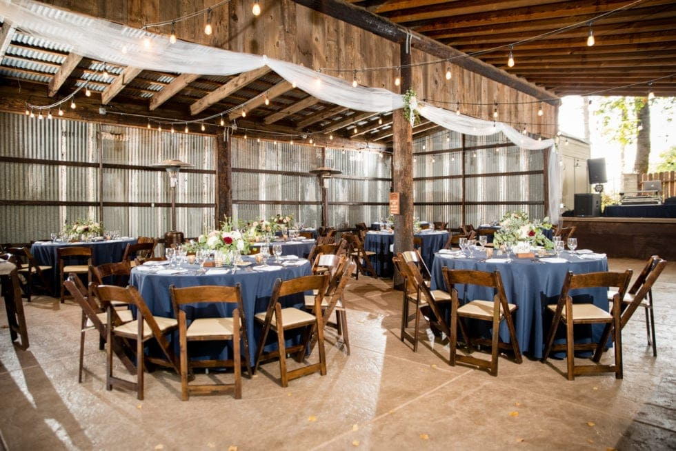 tables at wedding reception at mountain shadows retreat in foresthill, ca
