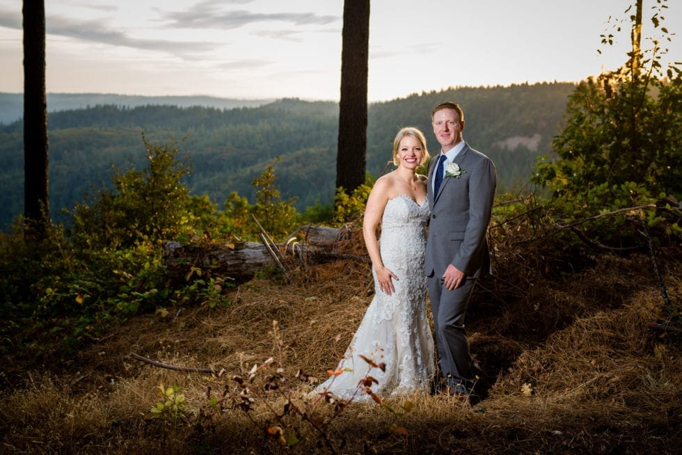 bride and groom portrait at mountain shadows retreat in foresthill, ca