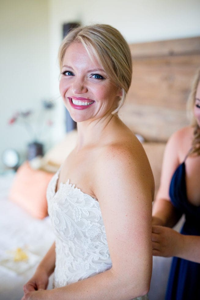 photo of bride smiling at the camera