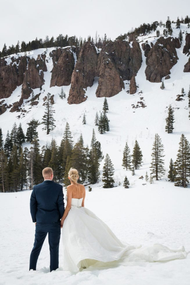 bride and groom looking at snowy mountain