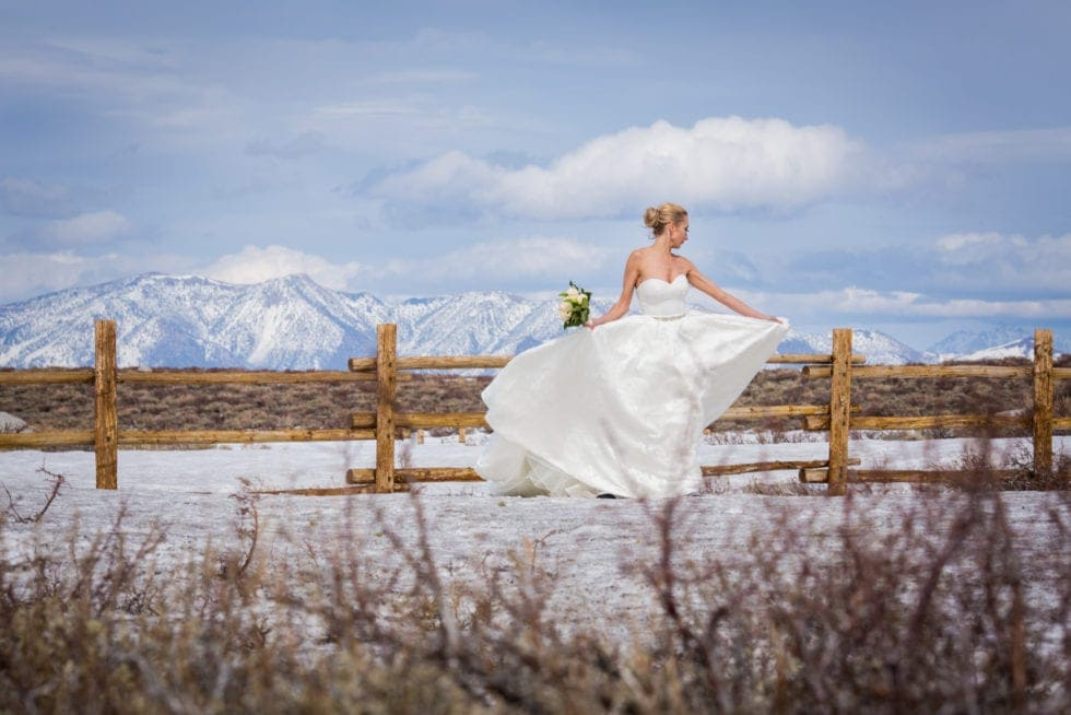 bride twirling in her dress in front of snowy mountain