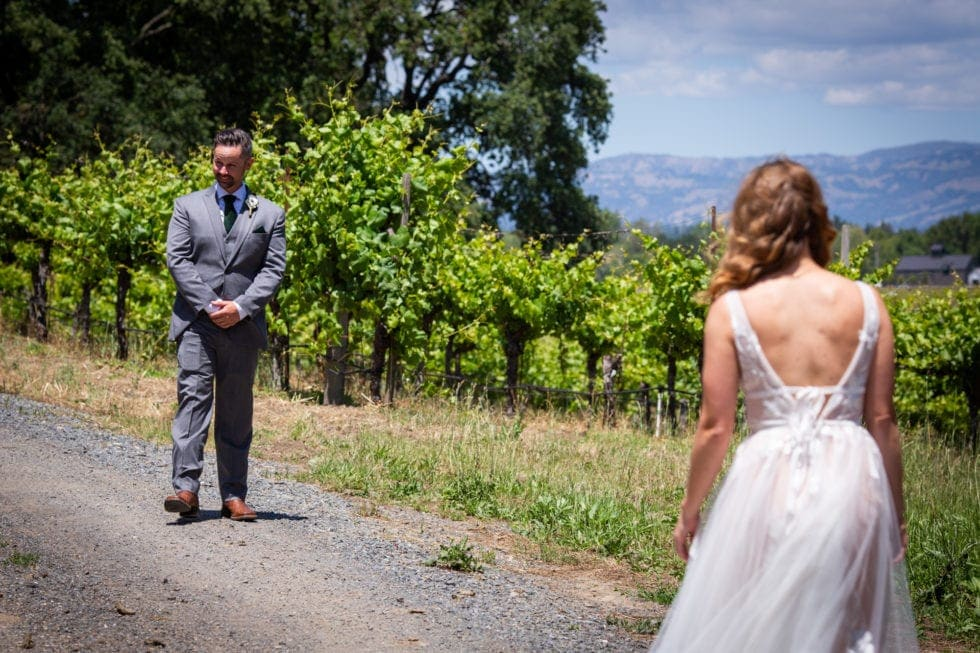groom sees bride for first time at griffith woods