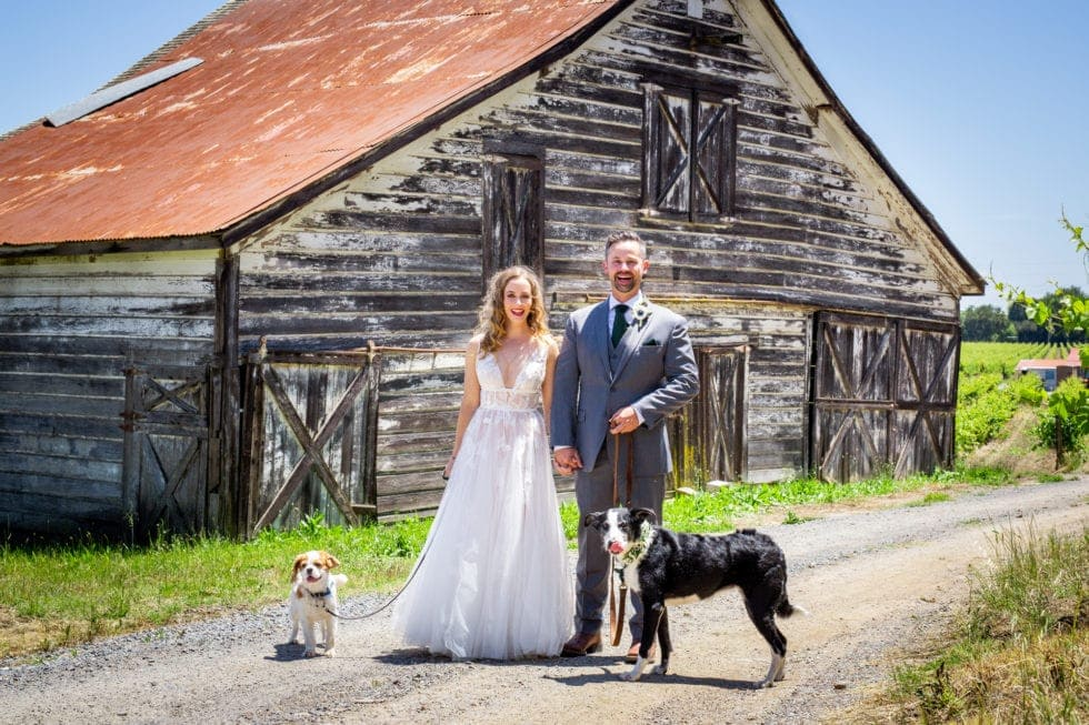 bride and groom and their dogs standing in front of barn at griffith woods