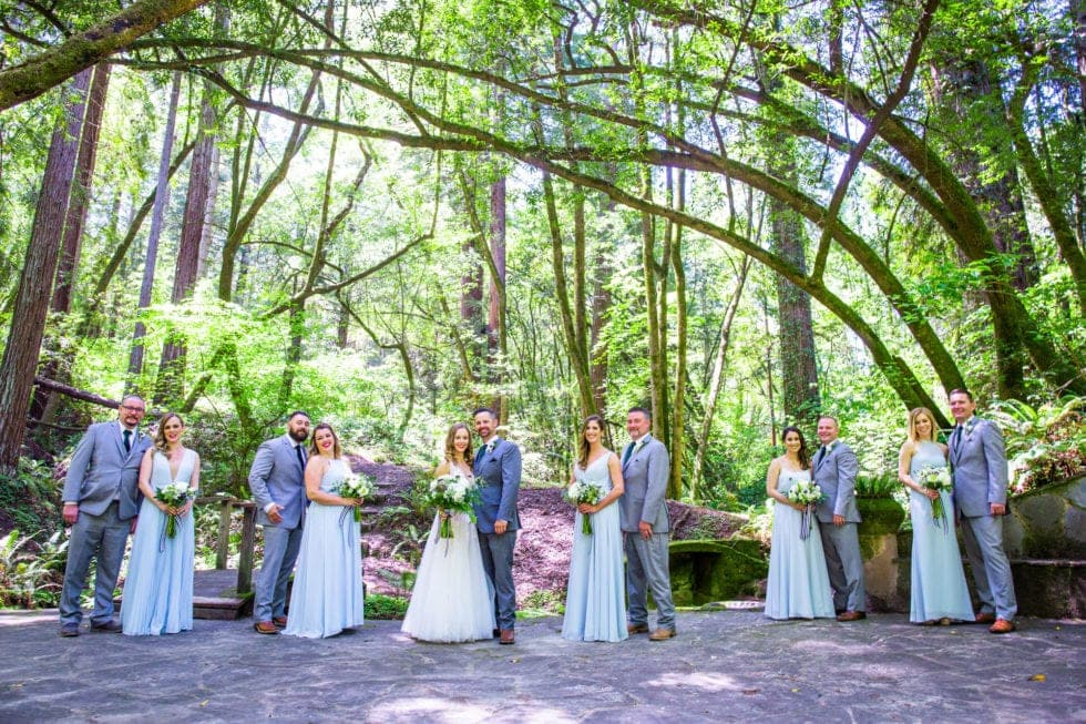 portrait of wedding party at griffith woods