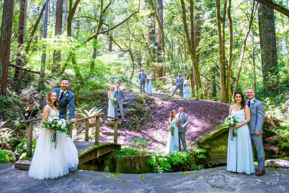 photo of wedding party at griffith woods