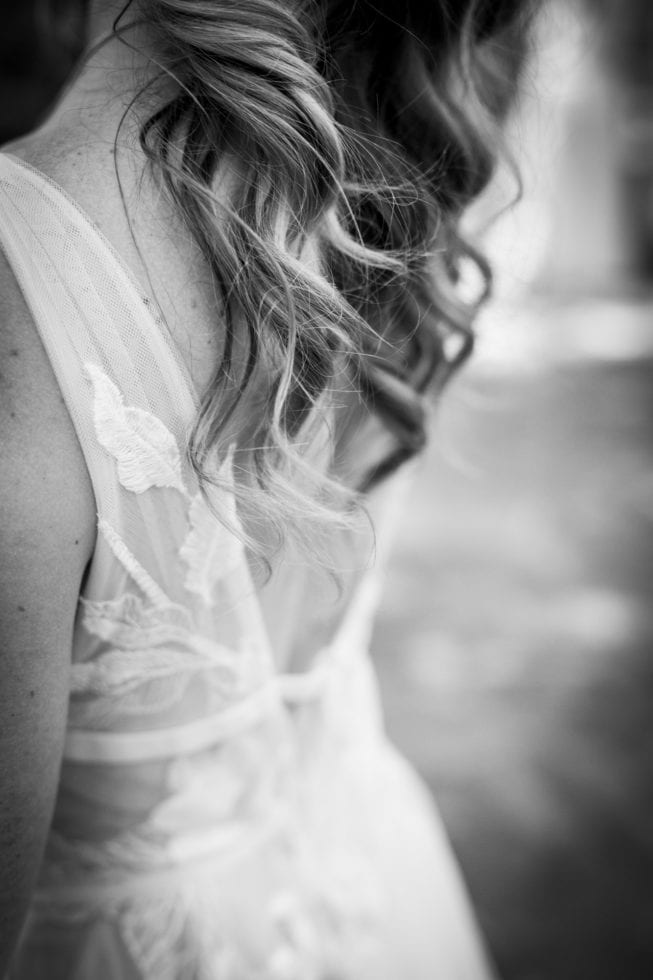 bride's hair and back of dress
