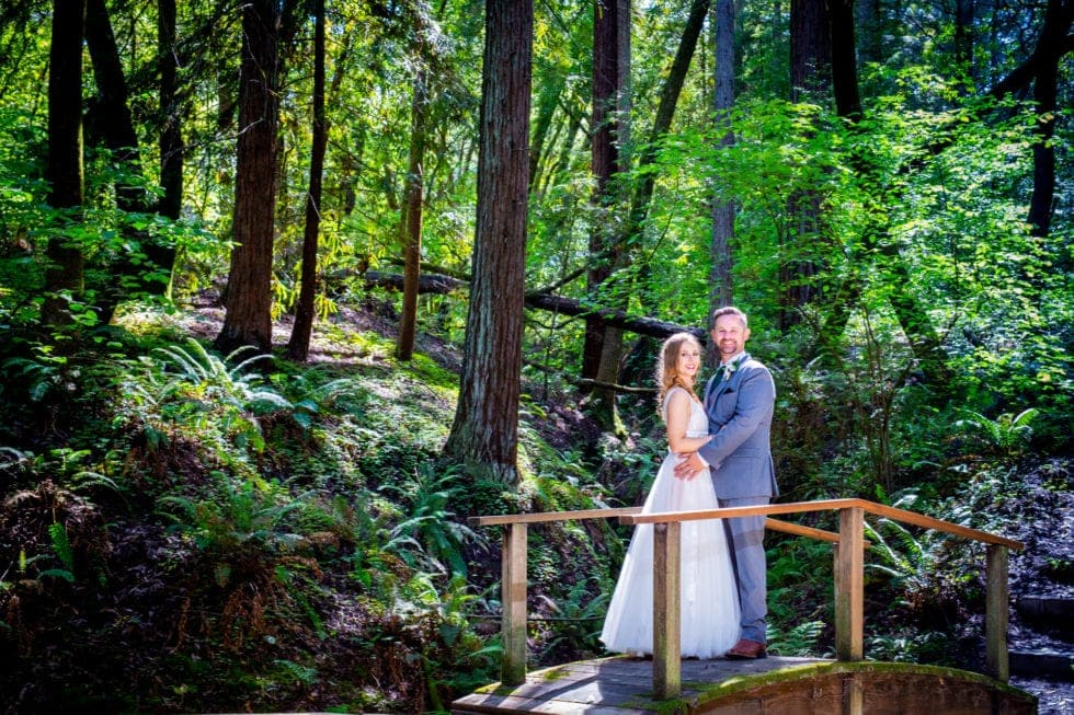 bride and groom standing on bridge in griffith woods