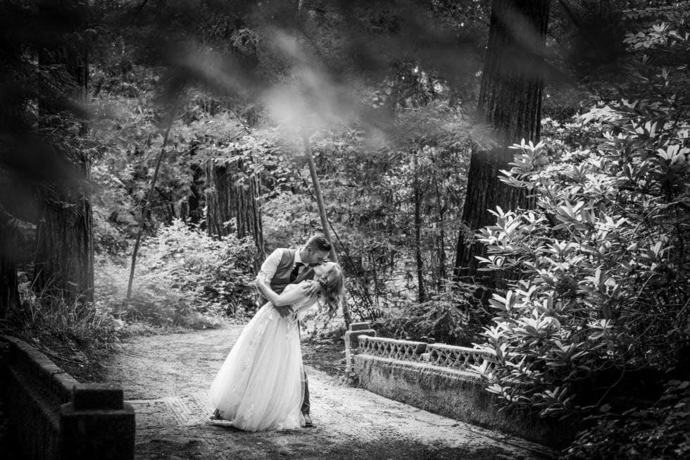 bride and groom kiss on path over bridge in griffith woods