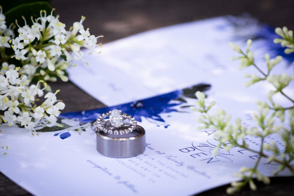 wedding invitations and with wedding rings sitting on top
