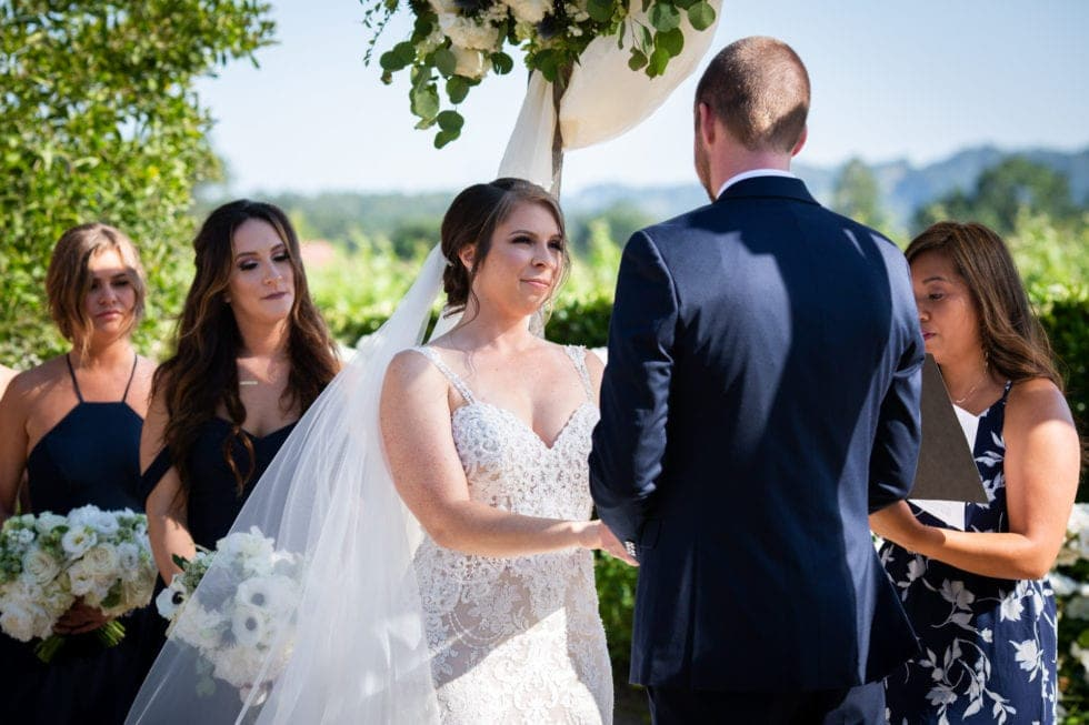 bride and groom during wedding ceremony at soda rock winery