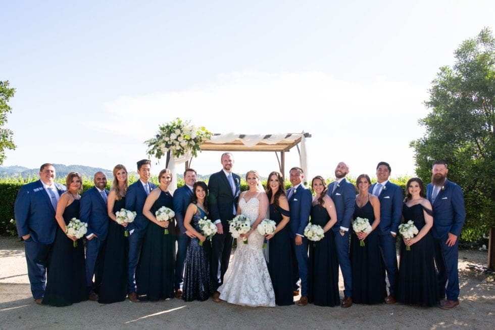 bridal party with bride and groom at soda rock winery