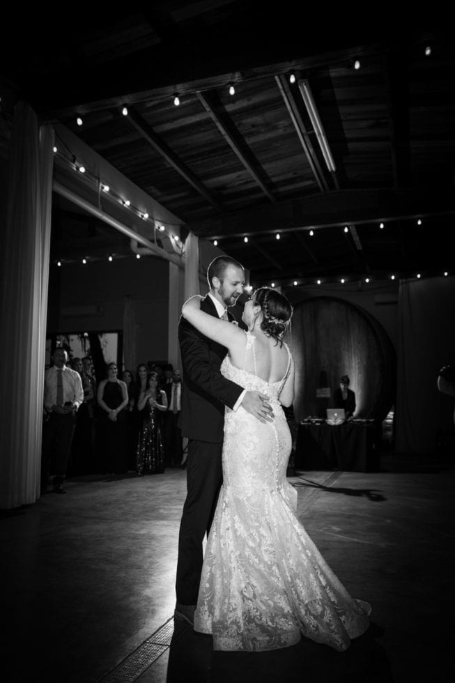 bride and groom first dance at soda rock winery
