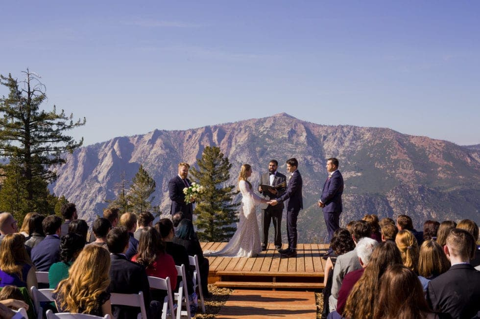 wedding photography of wedding ceremony overlooking bear valley ca