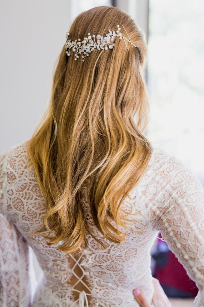 close up of bride's hair